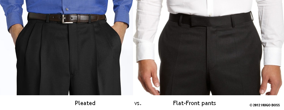 Pleated-vs-Flat-front-pants..... NEVER, NEVER, NEVER wear pleated ...